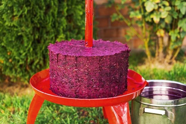 Weinpressmaschine mit rotem most und schraubenschraube nach dem aufnehmen von saft aus traubenmost. konzept des kleinen handwerksbetriebs. trauben ernte. spezialausrüstung für die herstellung von wein, weinherstellung.