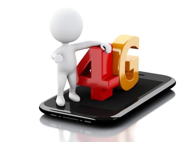 Weiß 3d peple mit intelligentem telefon und 4g unterzeichnen. technologie-konzept