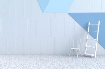 Weiß-blauer Raumdekorstuhl, Teppich, Bücherschrank für Weihnachtstag, Neujahr.