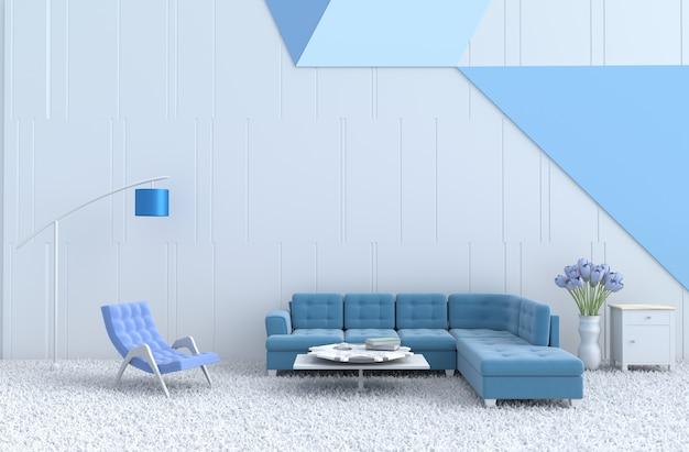 Weiß-blaues wohnzimmer, blauer sessel, sofa, teppich, tulpe. weihnachten, neujahr. 3d ren