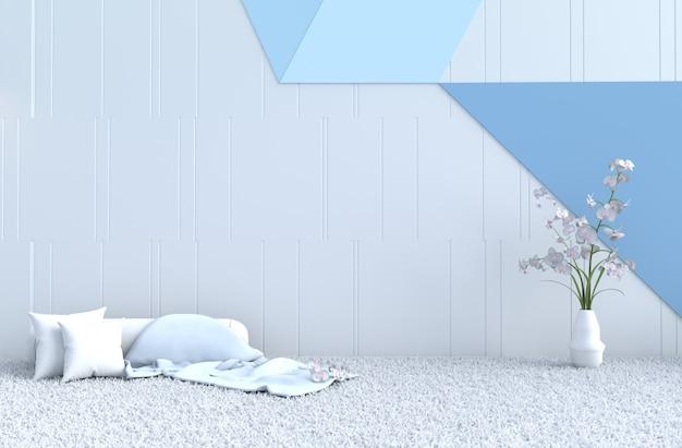Weiß-blaues zimmerdekorkissen, teppich, orchidee zu weihnachten, neujahr. 3d übertragen.
