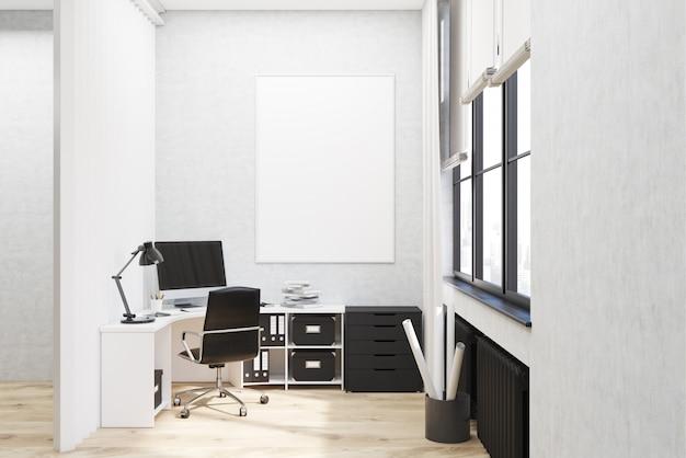 Weiß ummauertes büro mit plakat