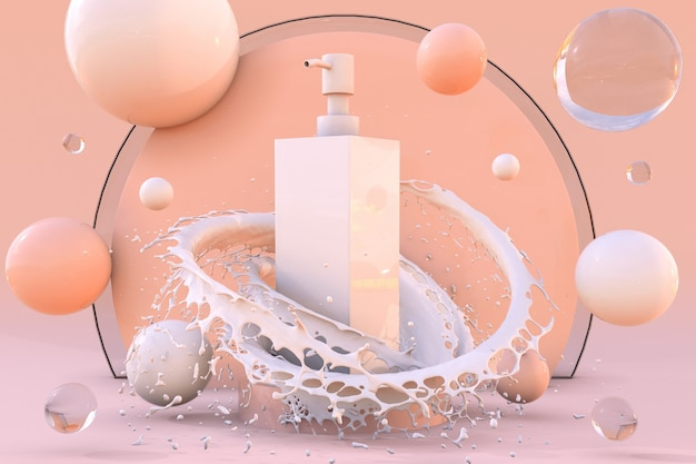 Weiße 3d-kosmetikflasche auf podium in spritzmilch mit blasen hautpflegelotionshampoocreme mockup