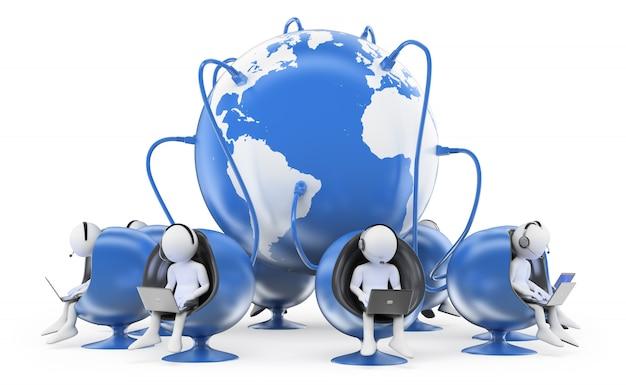 Weiße 3d-leute, die im globalen callcenter arbeiten