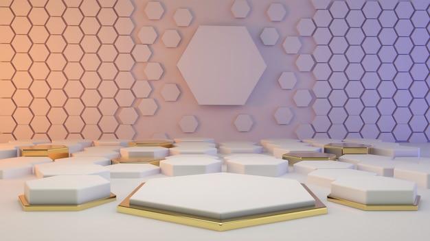 Weiße 3d-rendering-podestgeometrie mit goldelementen. leeres podium der abstrakten geometrischen form.