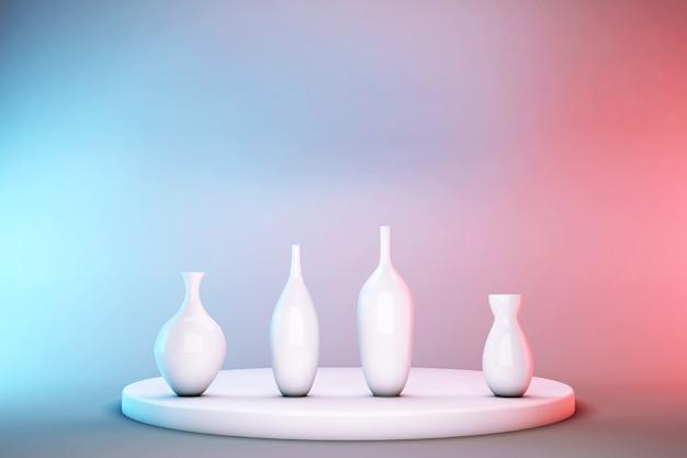 Weiße 3d-vasen, die auf dem sockel stehen, lokalisiert auf pastellrosa und blauem hintergrund. abstrakte podestanzeige für produktwerbung mit kopierraum.