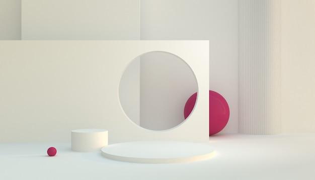 Weiße anzeigeplattform mit rosa kugel