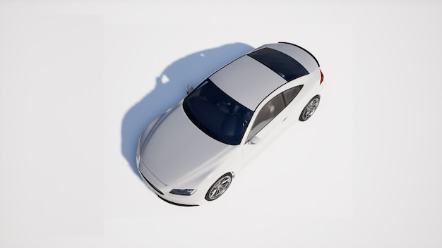 Weiße autoperspektive auf weißem hintergrund