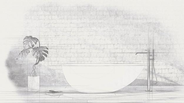 Weiße badewanne, die mit freistehender badmischer in einem modernen badezimmer steht