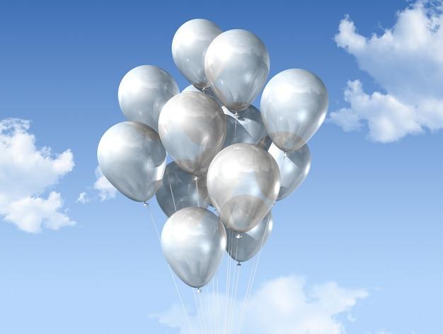 Weiße ballone auf einem blauen himmel