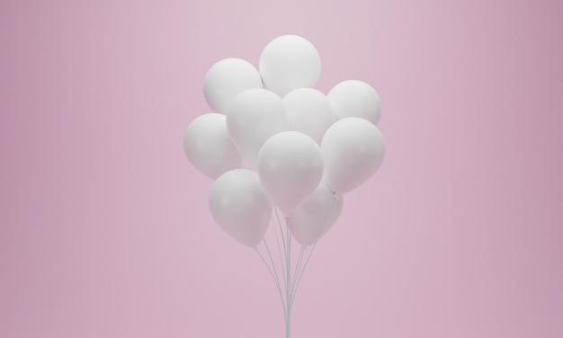 Weiße ballongruppe auf rosa pastellhintergrund. 3d-rendering.