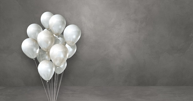 Weiße ballons bündeln auf einem grauen wandhintergrund. horizontales banner. 3d-darstellung rendern