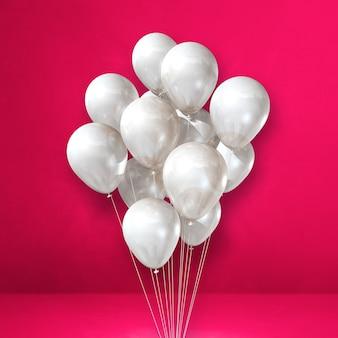 Weiße ballons bündeln auf einem rosa wandhintergrund. 3d-darstellung rendern