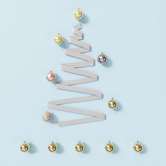 Weiße band-weihnachtstagesdekorationsgegenstände formen durch weihnachtsbaum auf blau. minimale idee. 3d-rendering.