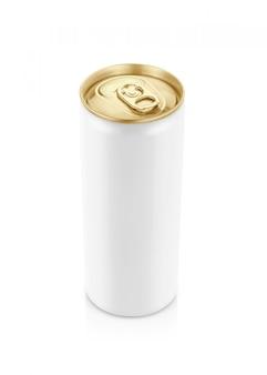 Weiße blechdose mit goldener spitze für getränkgetränk