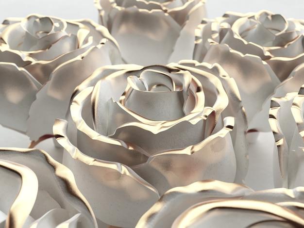 Weiße blume der goldenen blume stieg auf einem weißen hintergrund auf. 3d-rendering