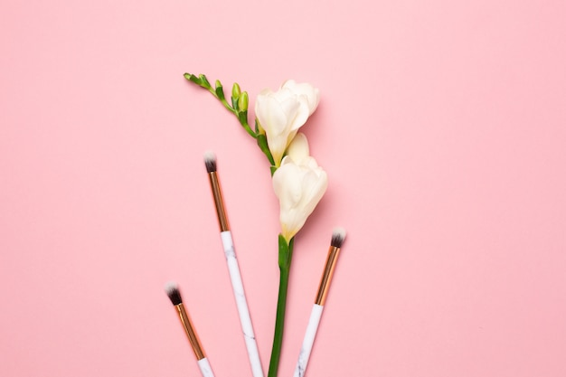 Weiße blume mit bilden bürsten auf rosa hintergrund