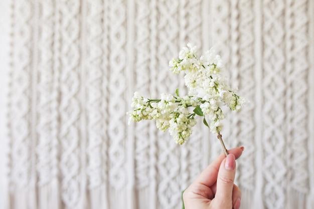 Weiße blume über makramee. eco-freundliches modernes strick-diy-naturdekorationskonzept im innenraum. flach liegen. handgemachte makramee 100% baumwolle. weibliches hobby. speicherplatz kopieren
