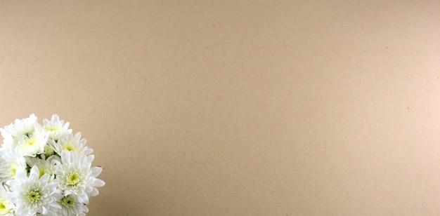 Weiße blumen flach hintergrundchrysantheme oder mütter auf rosa grauem hintergrund legen