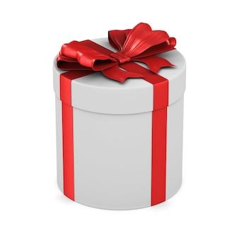 Weiße box mit roter schleife auf weißem raum