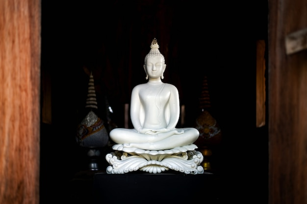 Weiße buddha-statue in thailändischem lanna-tempel