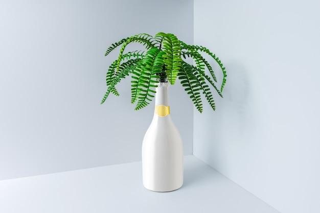 Weiße champagnerflasche mit tropischen grünen palmblättern