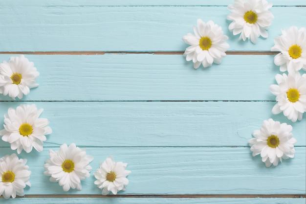 Weiße chrysantheme auf blauem holztisch