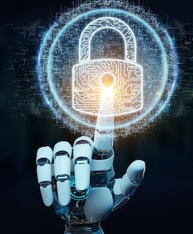 Weiße cyborghand, die seine daten mit digitaler wiedergabe des sicherheitshologramms 3d schützt