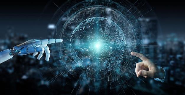 Weiße cyborghand unter verwendung der wiedergabe der planet erde-schnittstelle 3d
