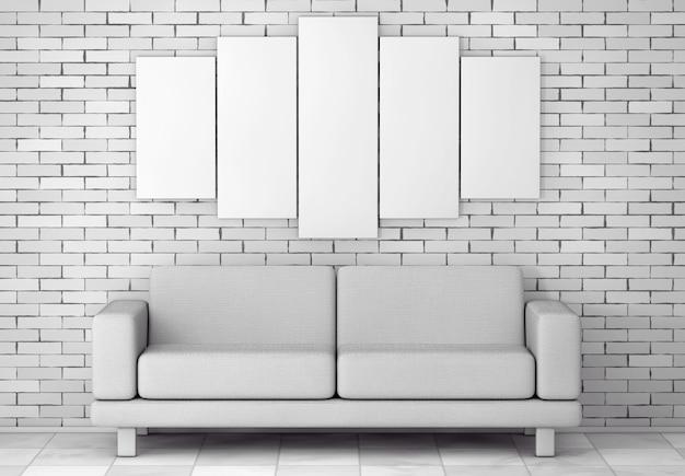 Weiße einfache moderne sofa-möbel unter leerem weißem plakat vor backsteinmauer. 3d-rendering