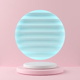 Weiße farbe der abstrakten geometrieform und rosa farbpodium auf blauem farbhintergrund für produkt. minimales konzept. 3d-rendering