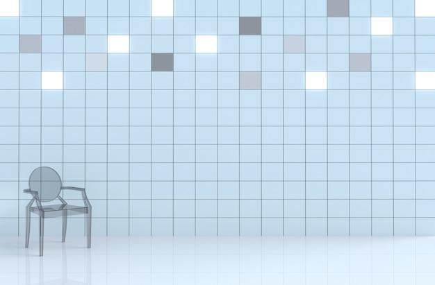 Weiße fliesenwürfelwand im weißen raumdekor mit glasstuhl
