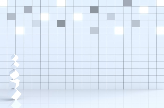 Weiße fliesenwürfelwand im weißen raumdekor mit würfeln