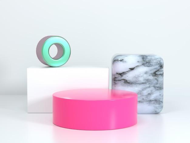 Weiße geometrische szene rosa kreis quadrat marmor textur leere podium 3d-rendering