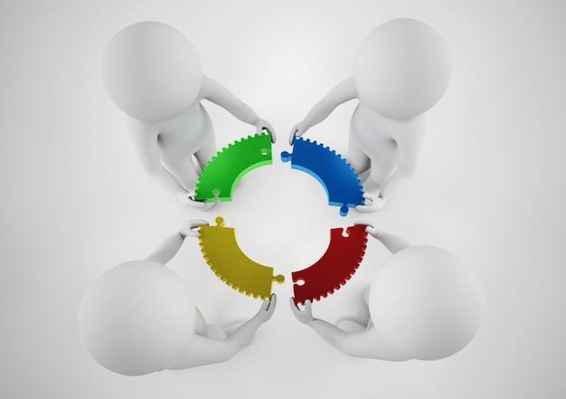 Weiße geschäftsleute bauen eine firma auf. konzept der partnerschaft und teamarbeit. 3d-rendering.