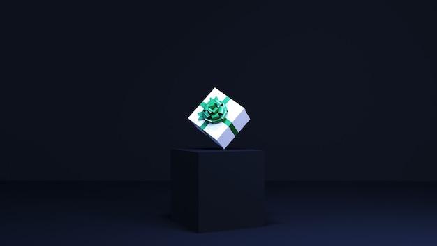 Weiße geschenkbox auf dunkelblauem podium. 3d-rendering