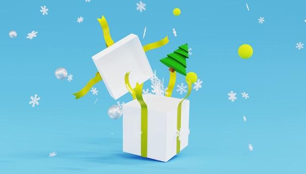 Weiße geschenkbox des 3d-renderings mit gelbem band und schneeflocken auf blauem hintergrund.