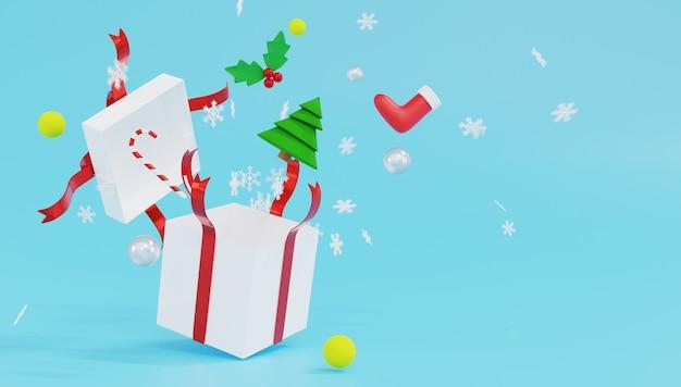 Weiße geschenkbox des 3d-renderings mit rotem band und schneeflocken auf blauem hintergrund.
