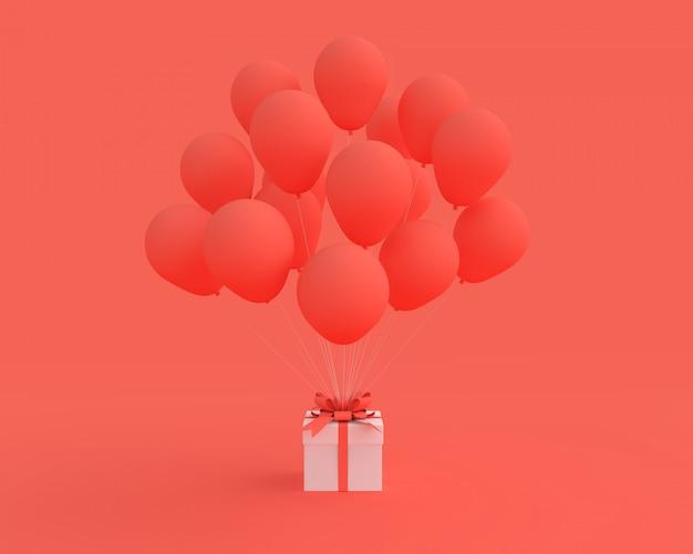 Weiße geschenkbox mit ballon auf rotem hintergrund.