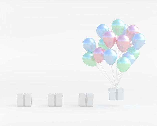 Weiße geschenkbox mit ballon-pastellfarbe