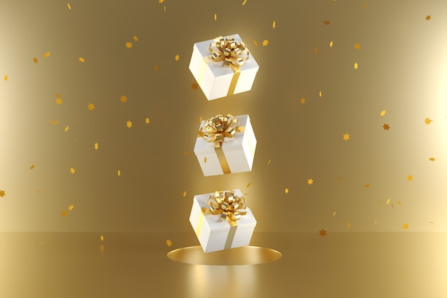 Weiße geschenkbox mit der goldenen bandfarbe, die auf goldhintergrund schwimmt
