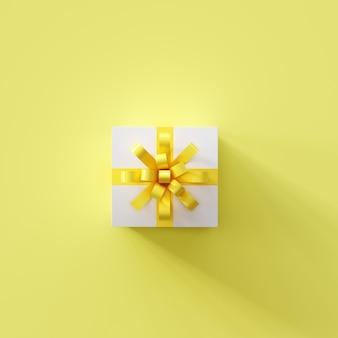 Weiße geschenkbox mit gelbem band auf gelber farbe. weihnachtsidee. 3d-rendering.