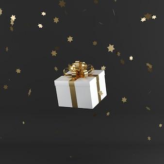 Weiße geschenkbox mit goldenem farbband auf schwarzem farbhintergrund