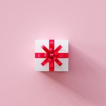 Weiße geschenkbox mit rotem band auf draufsichtrosafarbe. weihnachtsidee. 3d-rendering.