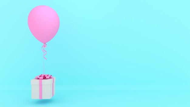 Weiße geschenkbox mit rotem band und rosa ballon auf blauem hintergrund., minimales weihnachts- und neujahrskonzept., 3d-rendering.