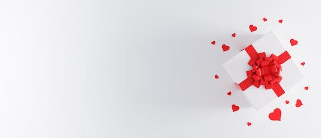 Weiße geschenkbox mit roter schleife auf weißem hintergrund mit herzkonfetti.