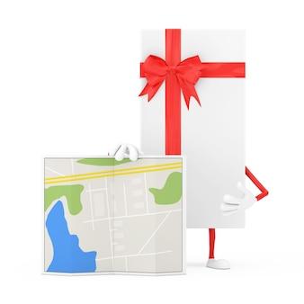 Weiße geschenkbox und red ribbon character maskottchen mit abstrakter plan-karte auf weißem hintergrund. 3d-rendering