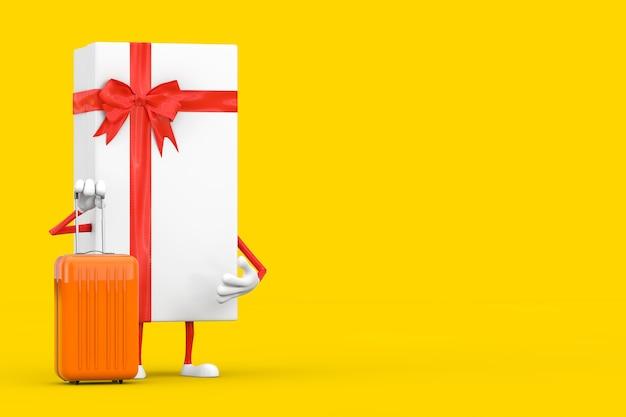 Weiße geschenkbox und rotes band-charakter-maskottchen mit orangefarbenem reisekoffer auf gelbem hintergrund. 3d-rendering