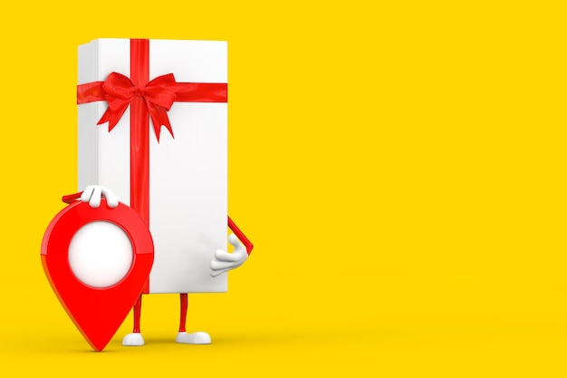 Weiße geschenkbox und rotes band-charakter-maskottchen mit rotem karten-zeiger-ziel-pin auf einem gelben hintergrund. 3d-rendering