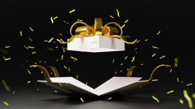 Weiße geschenkboxbombe des 3d-renderings mit goldband
